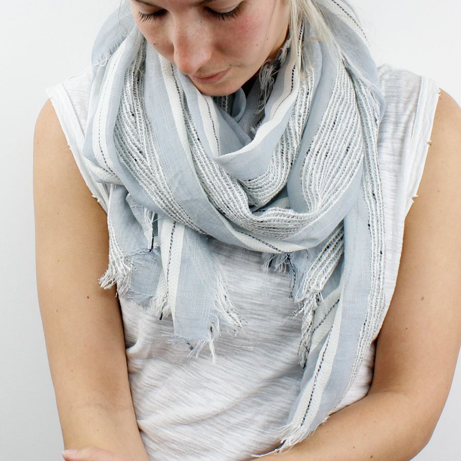 Pale blue fine weave scarf with textured ivory and navy blue stripes and frayed edge.  Approx size 70 x 180cm