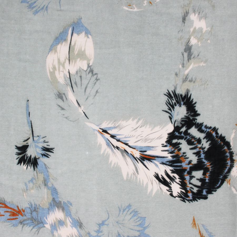 Soft grey scarf with feather print in burnt orange, powder blue and navy.   Approx size 100 x 180cm Polyester