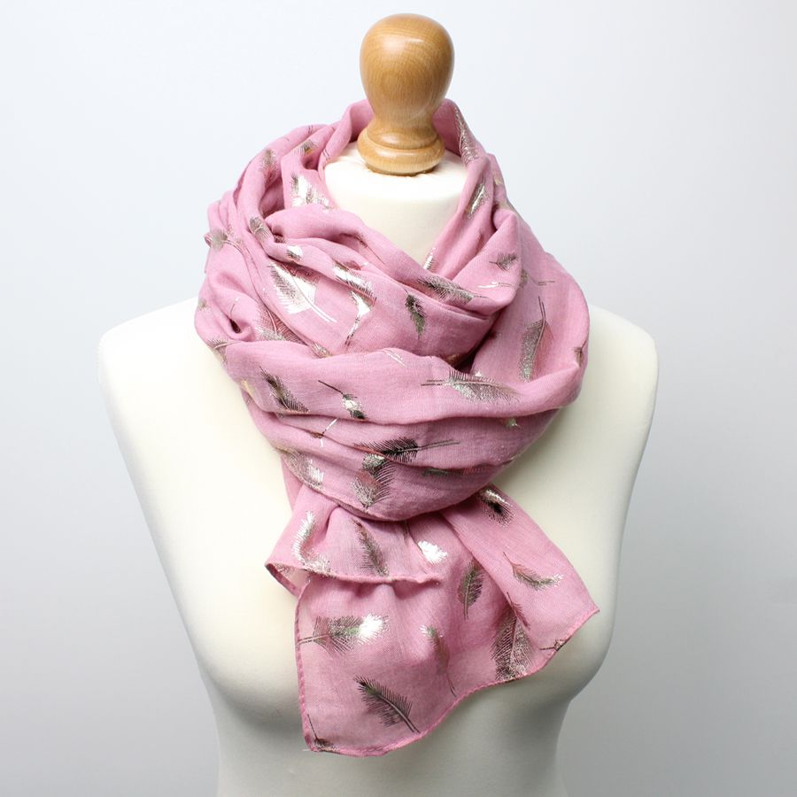 Mid pink scarf with pretty metallic rose gold feather print