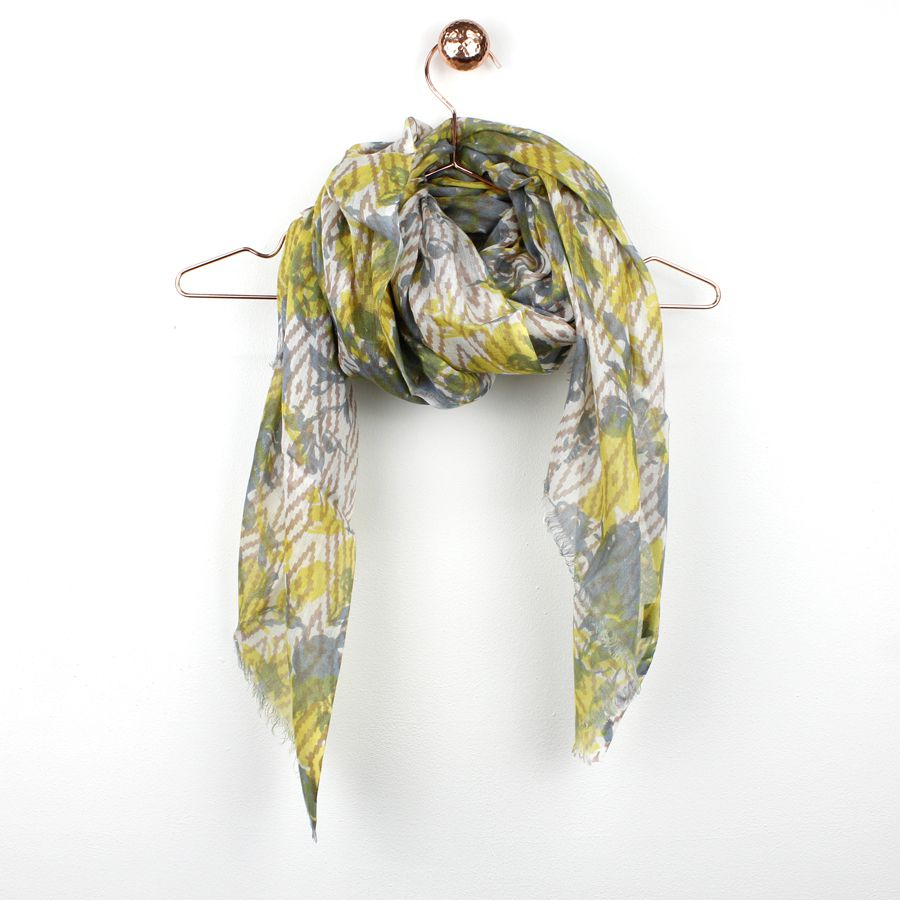 Ivory viscose scarf with yellow and blue-grey faded flower print, soft pink diamond pattern and frayed ends.  Approximate size 70cm x 180cm